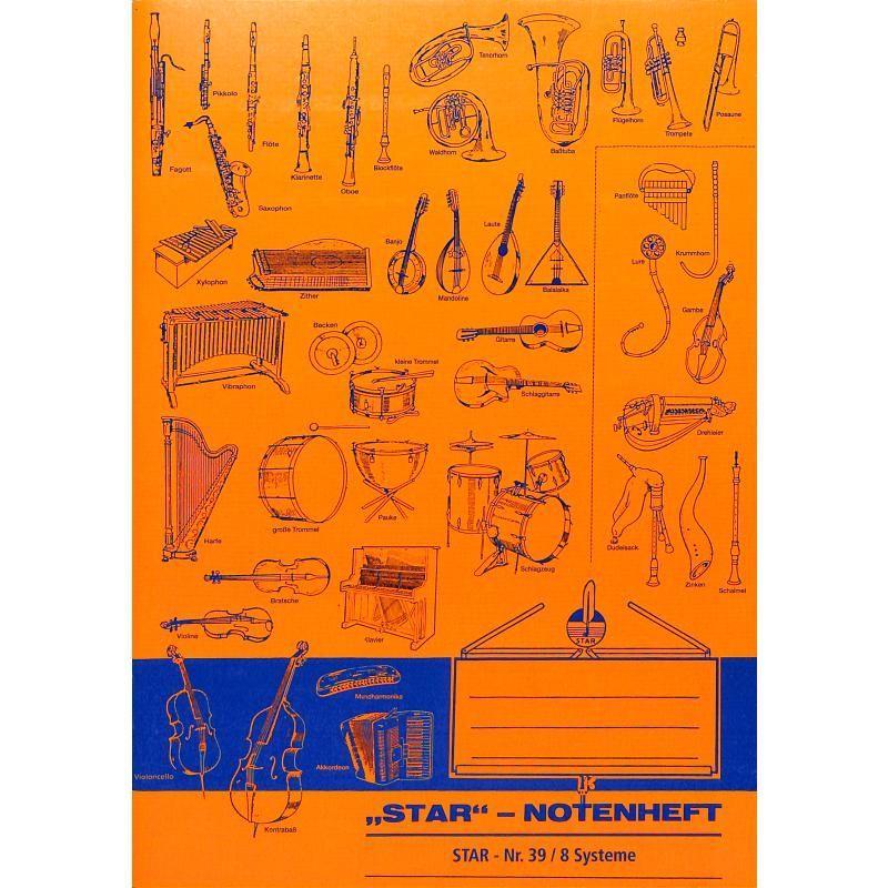 Notenpapier STAR Notenheft DIN A5 Heft 8 zeilig 16 Seiten Star 39