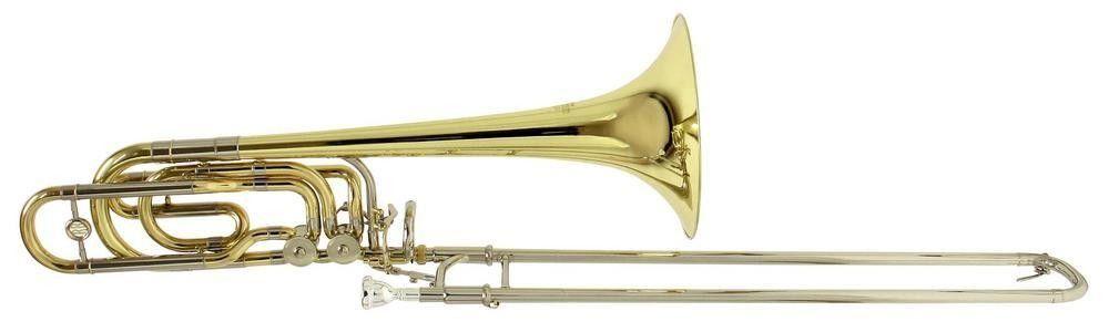 Roy Benson BT-260 Bb/F/Gb/D-Bass-Posaune, Bohrung 14,30mm, Etui + Zubehör