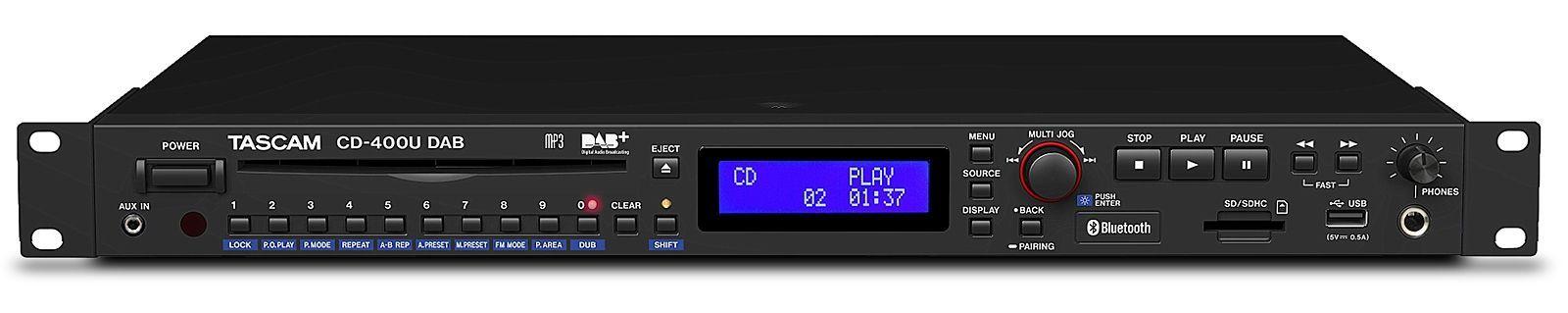 Tascam CD-400U DAB CD/USB/SD Medien-Player mit Radio- und Bluetooth-Empfänger