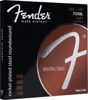 Fender 7250L E-Bass Saiten, Nickel Plated Steel 4 String Bass 040-100