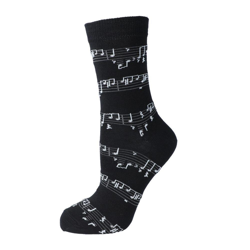 Socken, schwarz  mit Notendruck, BK, 43/45 Geschenke für Musiker