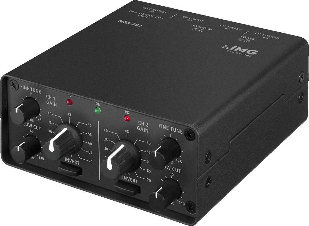 IMG Stage Line MPA-202 2-Kanal Low-Noise Mikrofon-Vorverstärker, Preamp