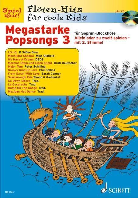 Noten Megastarke Popsongs 3 Ed 9763 2 Sopranblockflöten  incl. Playback CD