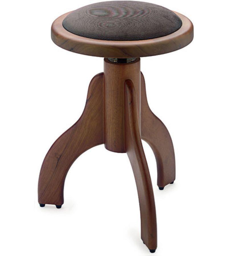 Klavierhocker Nussbaum braun/matt, 3Fuß Sitzfläche Velour braun