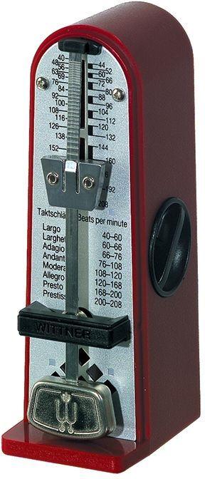 Wittner Metronom Piccolino, rubinrot, mechanisches Taktell, Pendel ohne Glocke