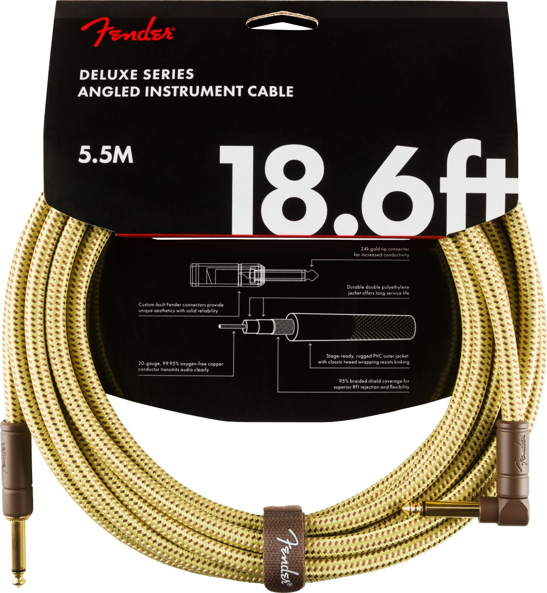 Fender Deluxe Series Instrument Cable 5,5m Angled Tweed