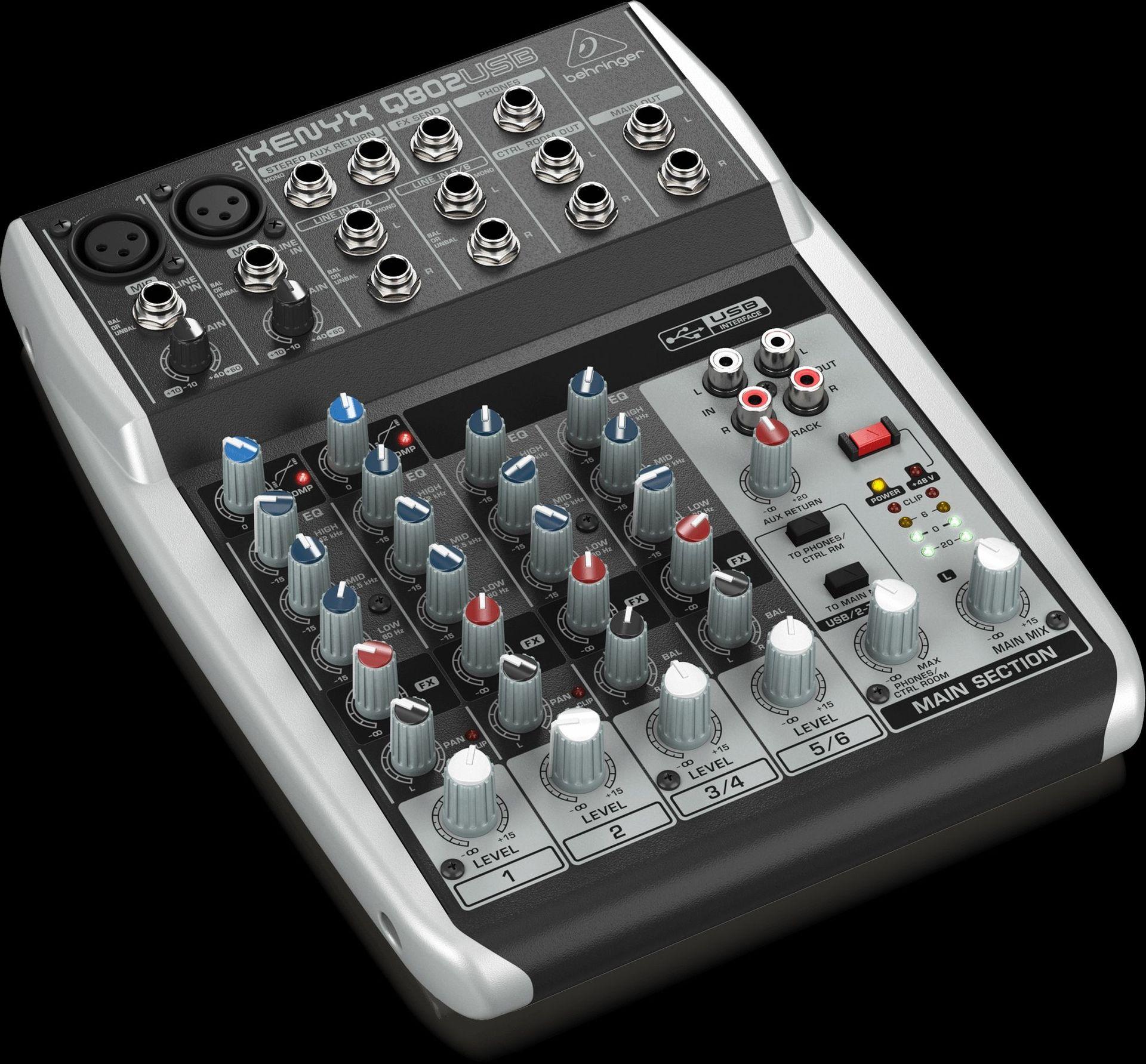 Behringer Xenyx Q802 USB Mixer mit USB Audiointerface