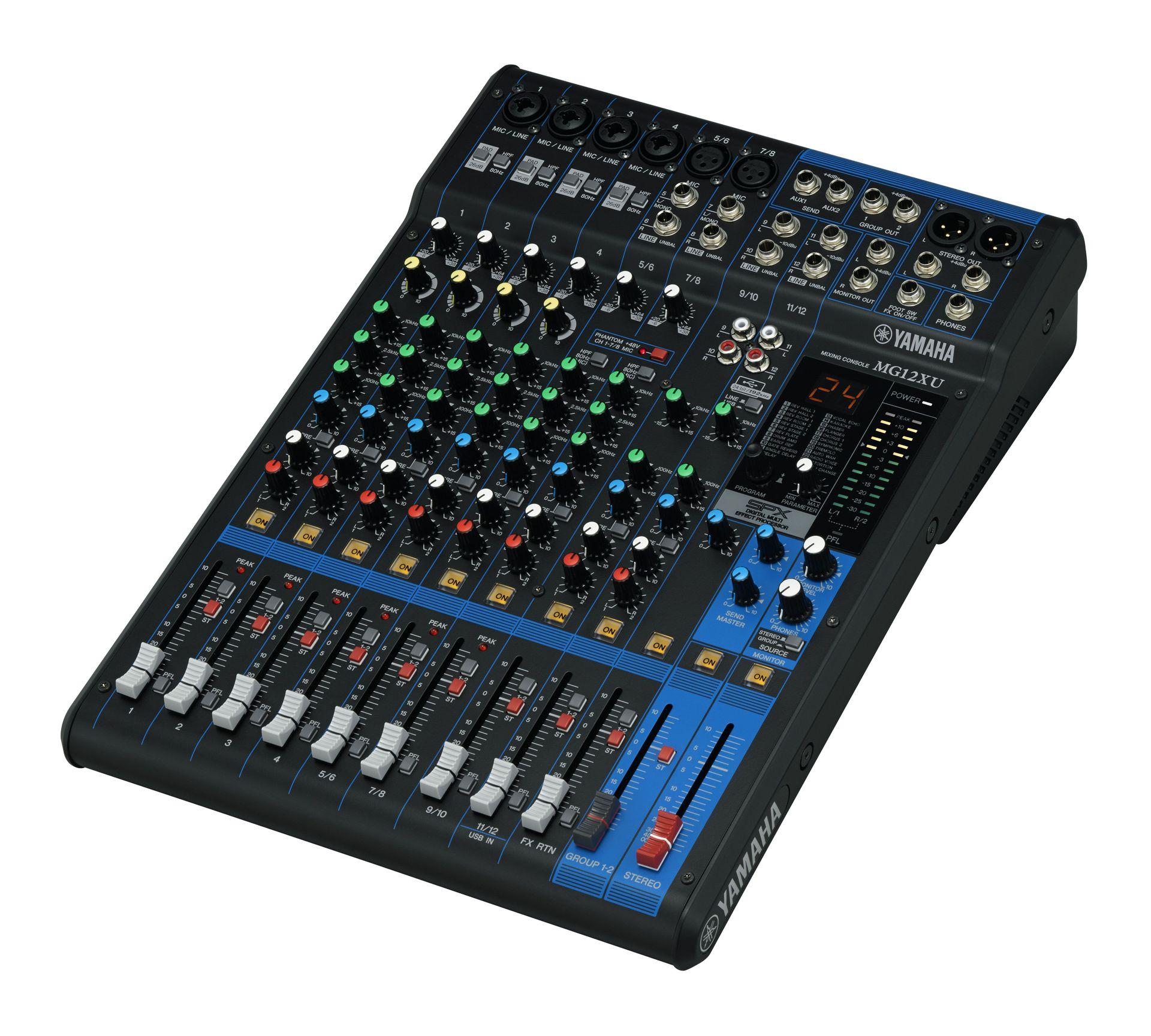 Yamaha MG12 XU Mixer, SPX Effekt, USB, 6 Mikrofoneingänge, 4 Stereoeingänge