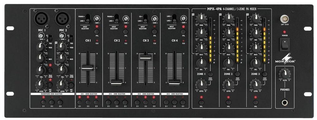 "Monacor MPX-4PA 19"" 3-Zonen Mixer, 2 Mikrofon + 4 Stereoeingänge, Talkover"