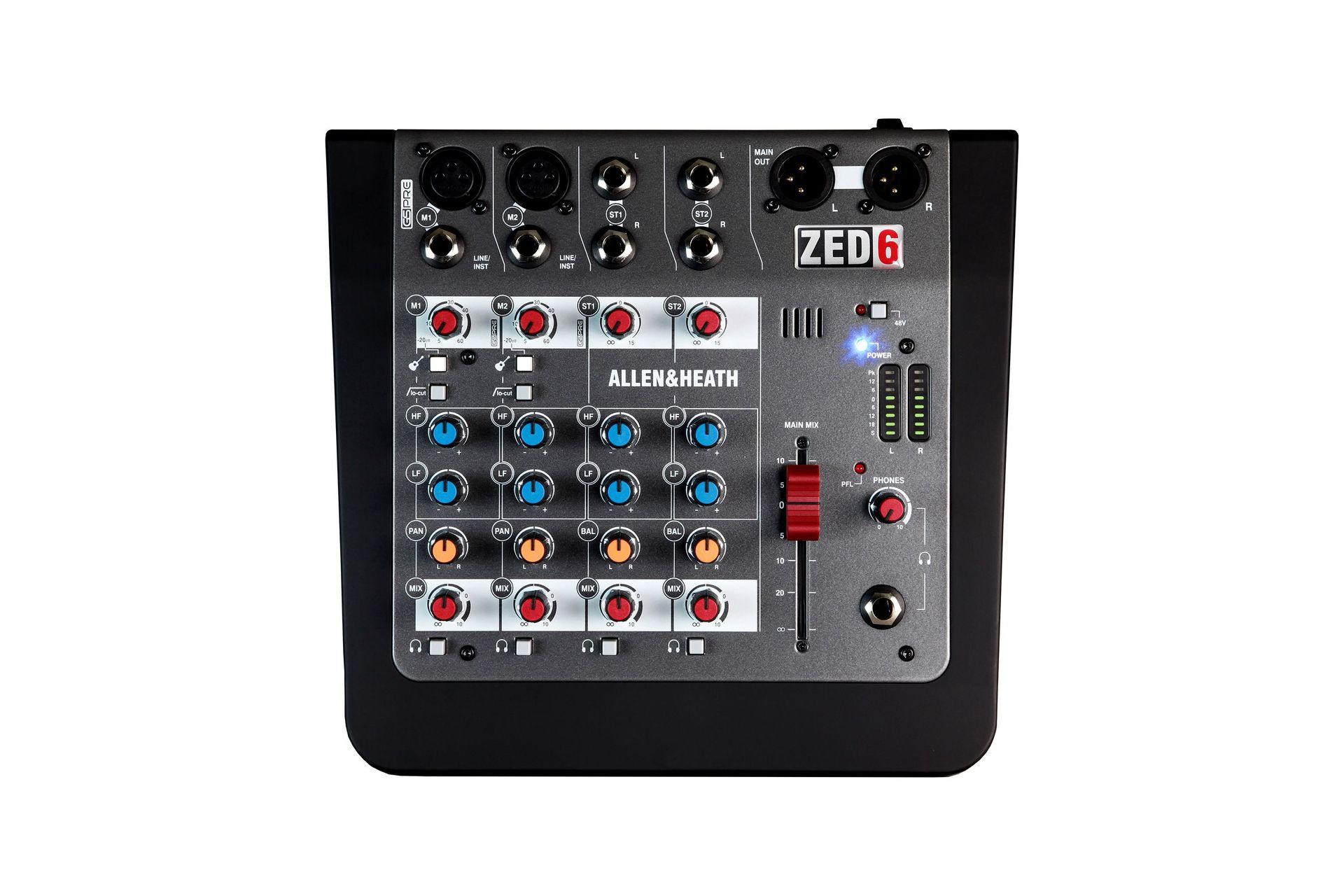 Allen&Heath ZED-6  Kleinmixer, 6 Kanal Mischpult mit XLR Master-Out