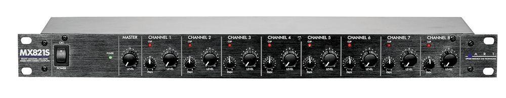 "ART MX 821S Mixer, 19"" 1 HE, 8 Mikrofoneingänge, 48V-Phantomspeisung, Stereo-Out"