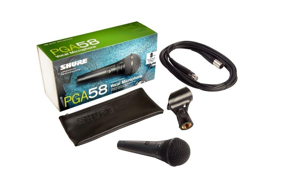 Shure PGA58 XLR Dynamisches Gesangsmikrofon mit Schalter und XLR Kabel 4,5m lang