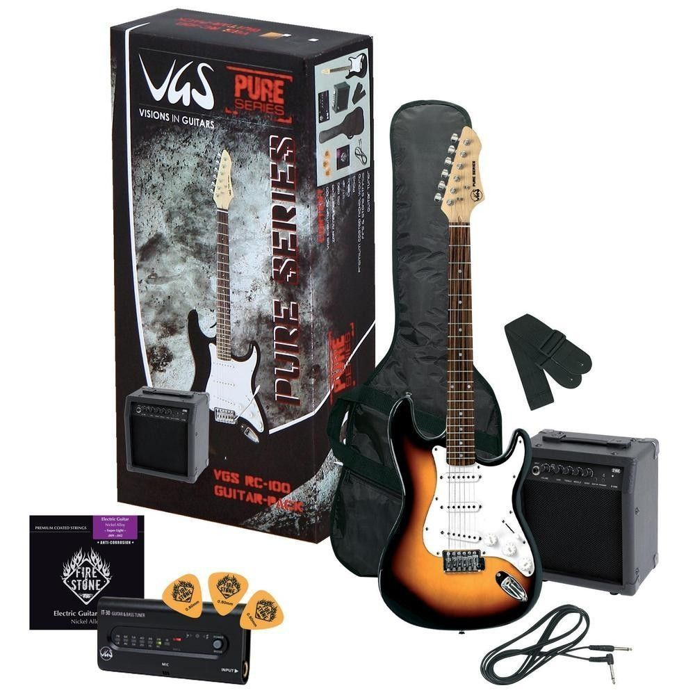 VGS RC-100 Guitar Pack, Einsteigerpaket: E-Guitar sunburst, Amp +Zubehör