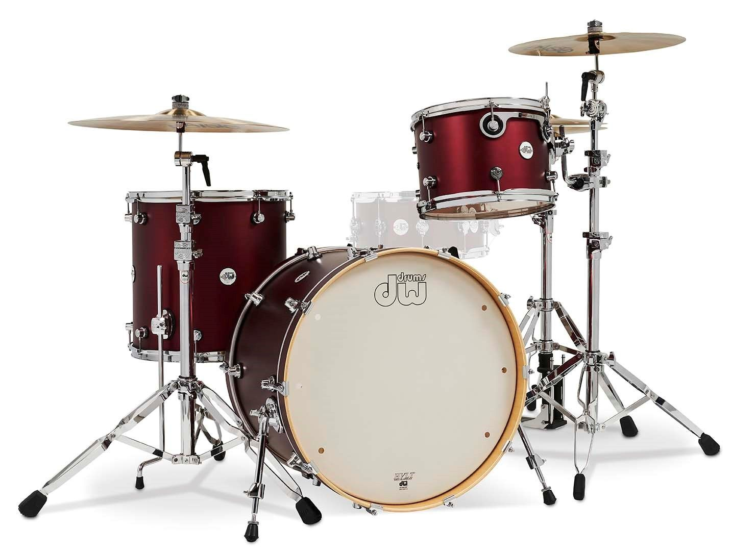 DW Design Drumset Crimson Satin Metallic 13/16/22 Kesselmaterial: Ahorn
