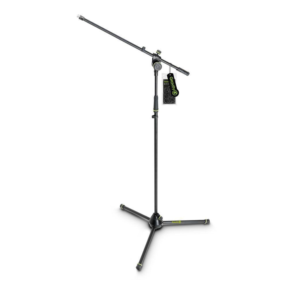 Gravity MS 4321 B  Mikrofonstativ mit Schwenkarm und 3-Bein Klappfuß schwarz
