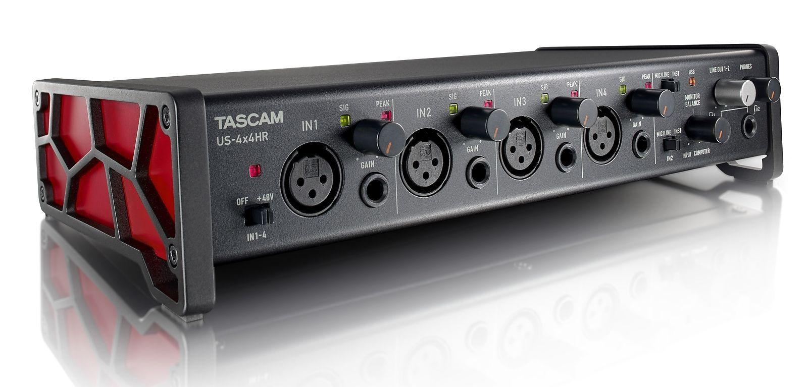 Tascam US-4x4HR USB Audio Interface 4-Kanal mit 4 Mikrofon-/Line-Eingängen