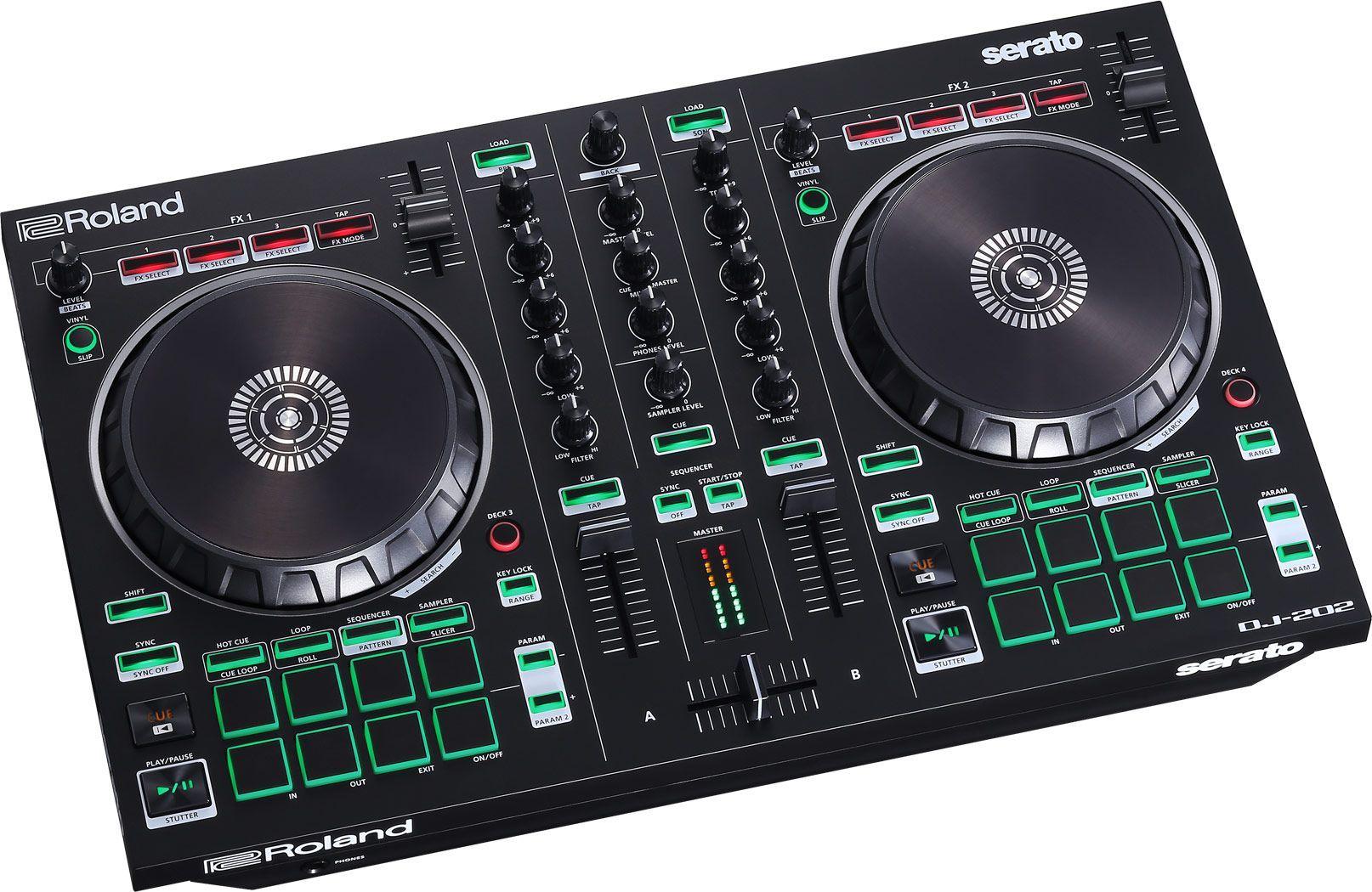 Roland DJ-202  2-Kanal DJ Controller für Serato Intro mit vier Decks