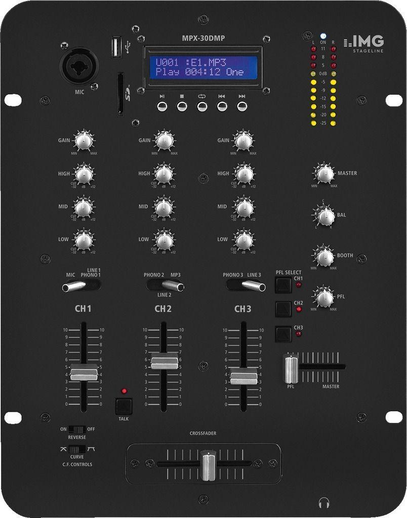 IMG Stage Line MPX-30DMP 3 Kanal Stereo-DJ-Mixer mit integriertem MP3-Spieler