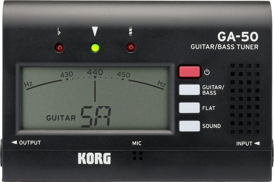Korg GA-50 Gitarren/BassTuner, Gitarre-Bass-Stimmgerät mit 6,3mm-Klinken-IN+ OUT