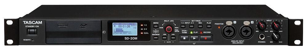 """Tascam SD-20M 19"""" 1 HE 4-Kanal Solid-State-Recorder mit 2 Mikrofoneingängen"""