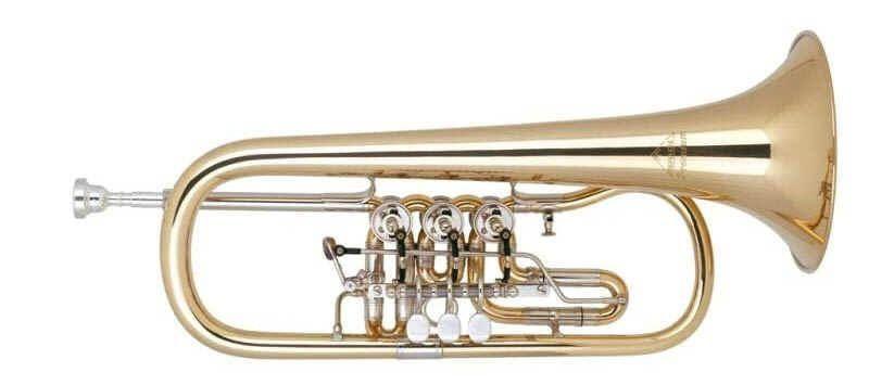 Miraphone 25-R B-Flügelhorn  25 1100 A100,  Goldmessing Schallstück Tonausgleich