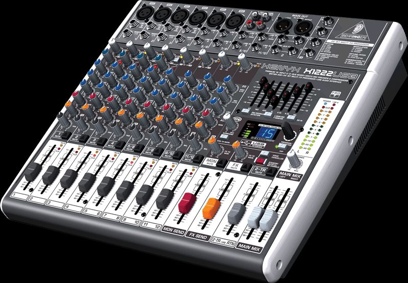 """Behringer XENYX  X1222 USB 19""""-Mixer, 6 Mikrofoneingänge, 2 Stereoinputs, Effekt"""