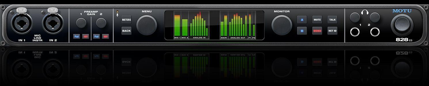 """MOTU 828ES 19"""" 1 HE Audiointerface mit USB2- und Thunderboltanschluss"""