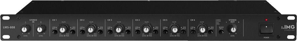 "IMG Stage Line LMS-808 19"" Mikrofon-Line-Mischer/Line-Splitter 8- / 6-Kanal"