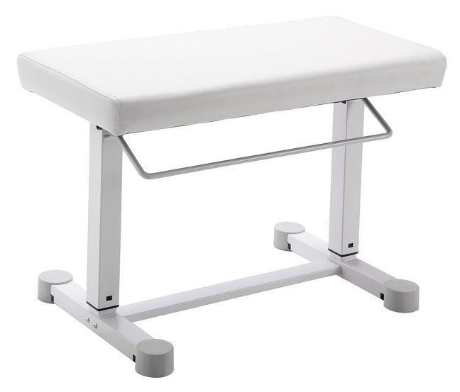 K&M Uplift 14080 weiß Klavierbank mit Gasdruckfeder, Kunstleder,Höhe 450 - 610mm