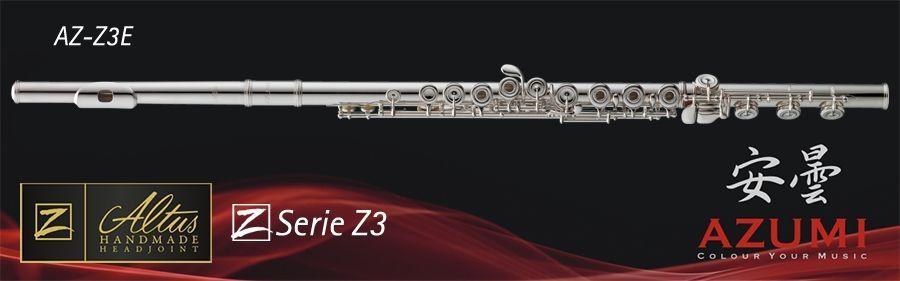 Azumi AZ-Z3E Querflöte Vollsilber Kopf und Rohr geschlossene Klappen, incl. Etui