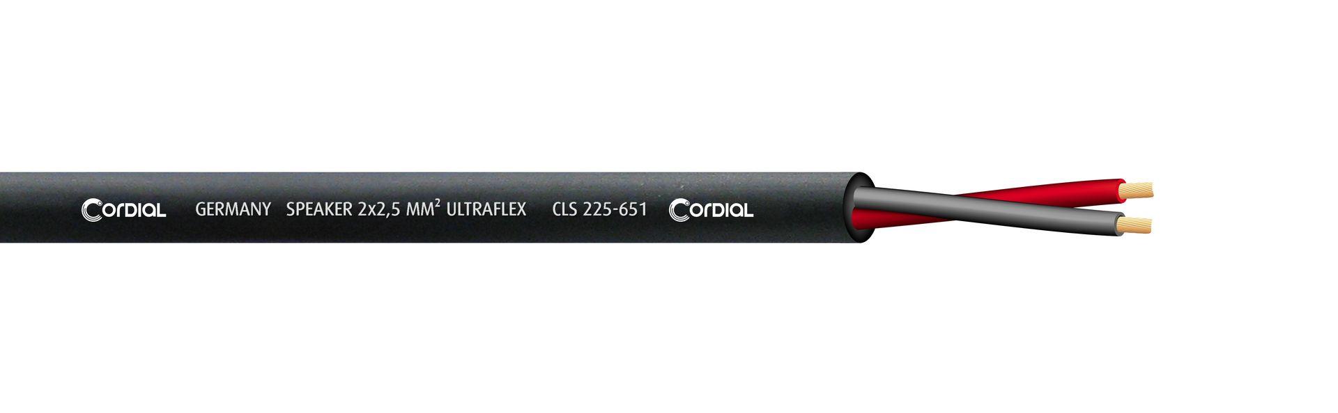 Cordial CLS 225-651 BK Lautsprecherkabel black 2 x 2,50 qmm, Meterware Ultraflex