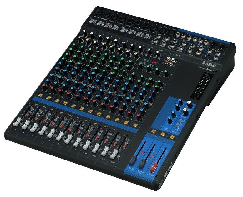 Yamaha MG16 Mixer, 8 Combi Mikrofon/Line Eingänge + 2 Mik/Stereo + 2 Stereo-IN