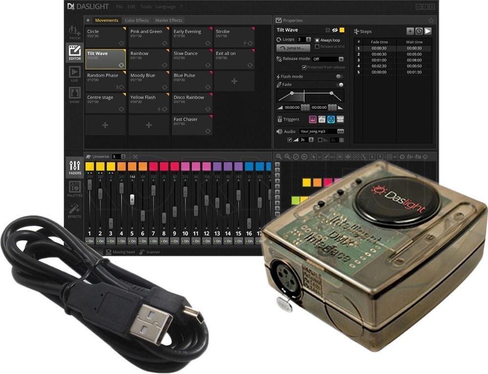 Daslight DVC4 FUN DMX-Interface mit Software für Lichtsteuerungen