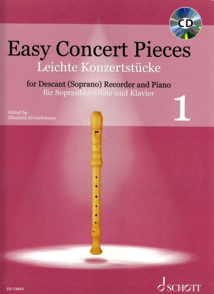 Noten Easy Concert pieces 1 - Blockflöte Schott ED 23043 & CD & Klavierstimme