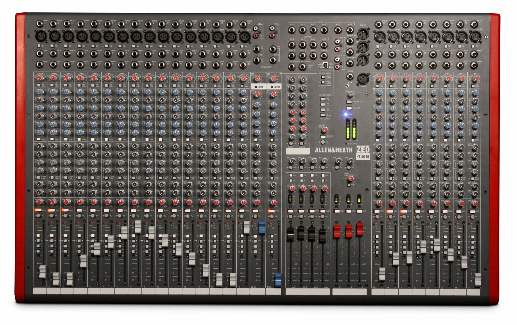 Allen&Heath ZED-428 Mixer, Mischpult, 24 Mikrofonkanäle+4 StereoInputs, Software